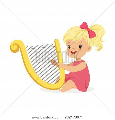 Sweet little blonde girl playing harp, young musician with toy musical instrument, musical education for kids cartoon vector Illustration on a white background
