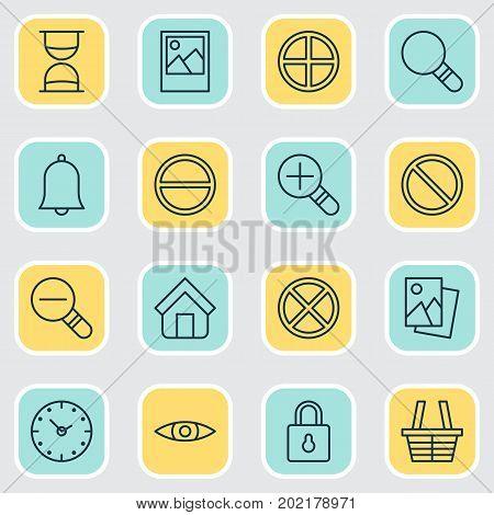 Icons Set. Collection Of Glance, Image, Landscape Photo Elements