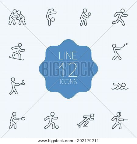 Collection Of Run, Swordplay, Diving And Other Elements.  Set Of 12 Fitness Outline Icons Set.