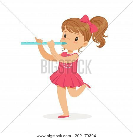 Sweet little girl playing flute, young musician with toy musical instrument, musical education for kids cartoon vector Illustration on a white background