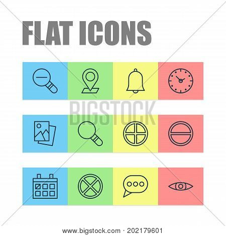 Icons Set. Collection Of Refuse, Bell, Pinpoint And Other Elements