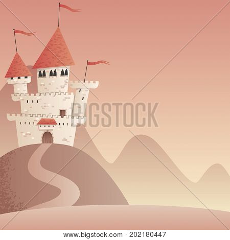 Square background with cartoon fantasy castle and copy space.