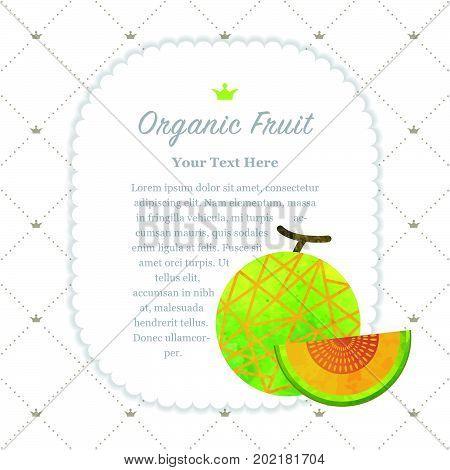 Colorful Watercolor Texture Nature Organic Fruit Memo Frame Melon