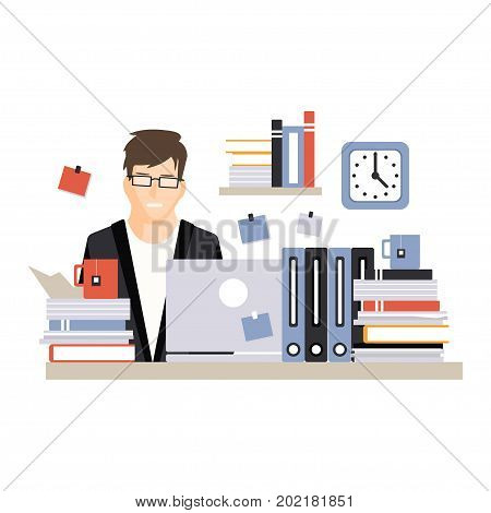 Young busy businessman character sitting at the computer desk with laptop and working hard, daily life of office employee vector Illustration on a white background