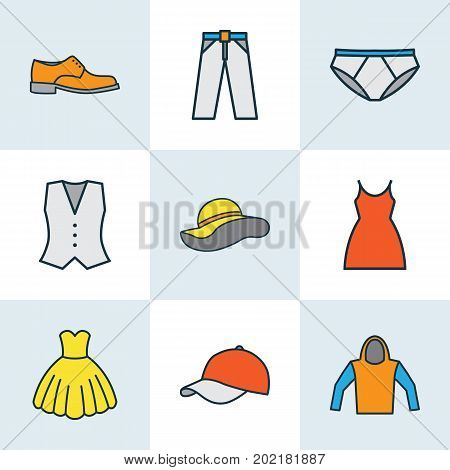 Dress Colorful Outline Icons Set. Collection Of Dress, Cap, Trousers And Other Elements