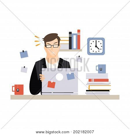 Stressed busy young businessman character sitting at the computer desk with laptop and working, daily life of office employee vector Illustration on a white background