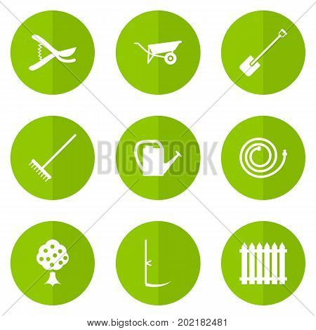 Collection Of Garden Hose, Watering Can, Wheelbarrow And Other Elements.  Set Of 9 Horticulture Icons Set.
