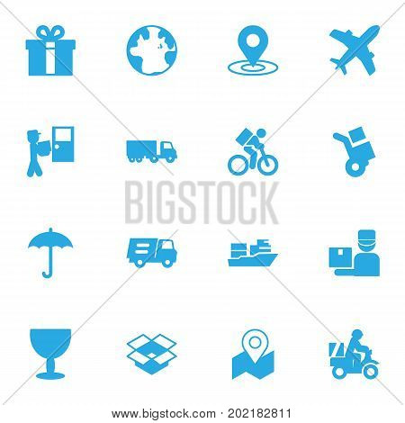 Collection Of Deliveryman, Delivery, Aircraft And Other Elements.  Set Of 16 Cargo Icons Set.