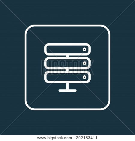 Premium Quality Isolated Datacenter Element In Trendy Style.  Server Outline Symbol.