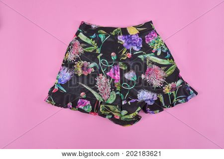 floral skirt isolated-pink background