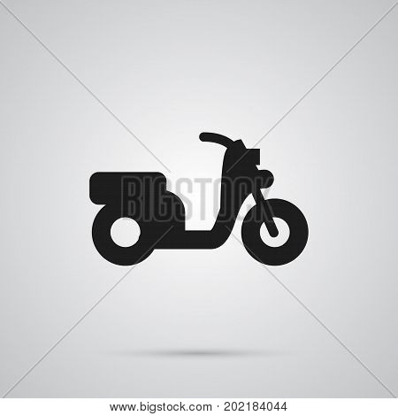 Vector Scooter Element In Trendy Style.  Isolated Moped Icon Symbol On Clean Background.