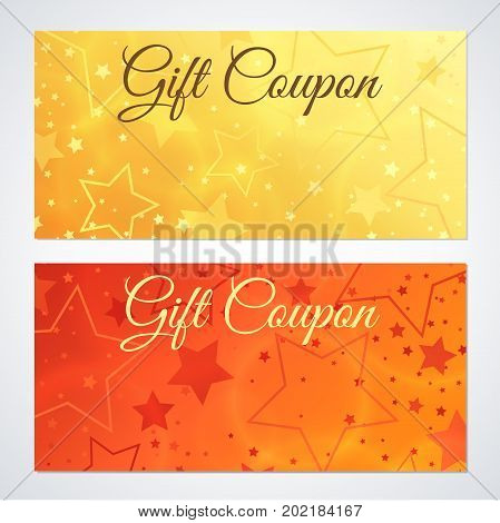 Gift certificate, Voucher, Coupon, Invitation or Gift card Discount template with sparkling, twinkling stars (texture). Red, gold background design for holiday gift banknote, check, flyer
