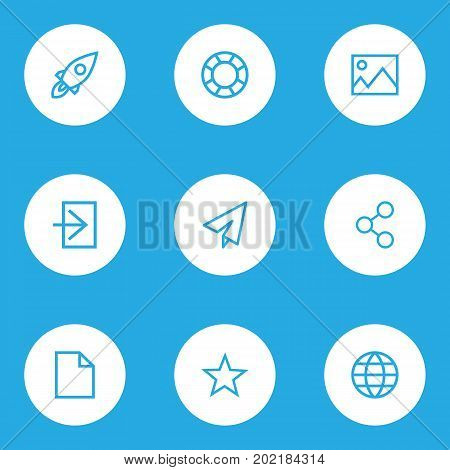 Interface Outline Icons Set. Collection Of Globe, File, Log In And Other Elements