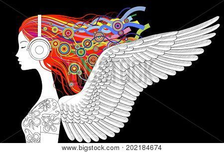 Linear drawing of girl head half-face with wings and color loose hair listen to music with head-phones