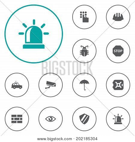 Collection Of Surveillance, Look, Hardhat And Other Elements.  Set Of 12 Security Icons Set.