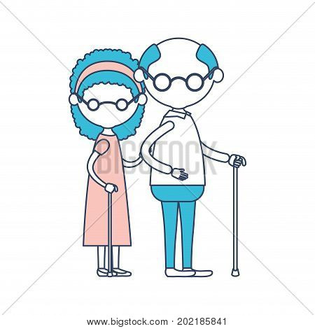 caricature faceless full body elderly couple with glasses in walking stick and grandmother with curly hairstyle in dress and grandfather in color section silhouette vector illustration