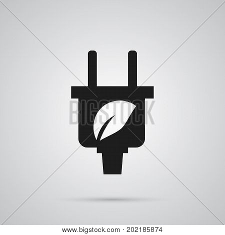 Vector Leaf  Element In Trendy Style.  Isolated Plug Icon Symbol On Clean Background.
