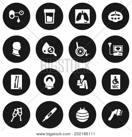 Collection Of Pilates, Machine, Thorax And Other Elements.  Set Of 16 Medicine Icons Set.