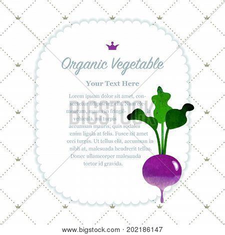Colorful Watercolor Texture Nature Organic Fruit Memo Frame Turnip