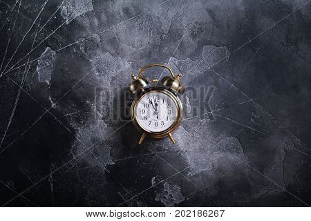 Christmas Alarm Clock On Vintage Darken Time Concept
