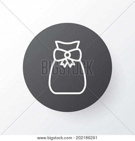 Premium Quality Isolated Present Pouch Element In Trendy Style.  Gift Sack Icon Symbol.