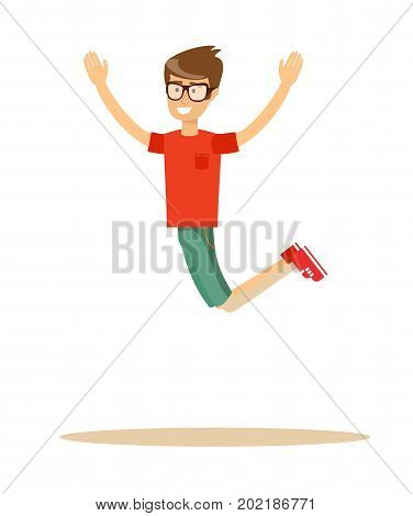 Active guy jumping in joy, isolated on white. Stock flat vector illustration.
