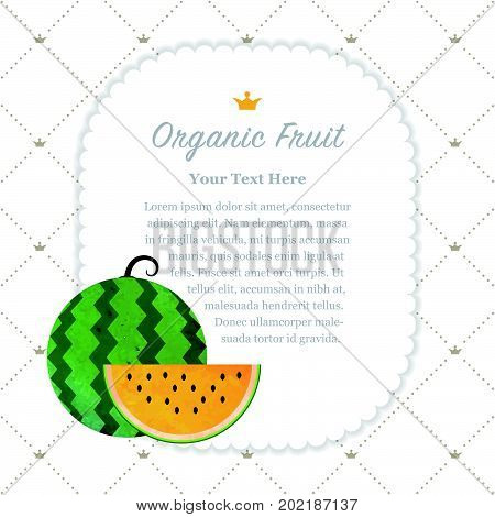 Colorful Watercolor Texture Nature Organic Fruit Memo Frame Yellow Water Melon