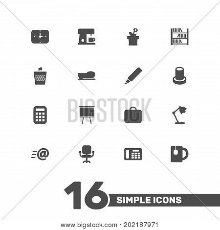Collection Of Book, Case, Calculate And Other Elements.  Set Of 16 Workspace Icons Set.