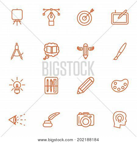 Collection Of Concept, Palette, Pencil And Other Elements.  Set Of 16 Constructive Outline Icons Set.