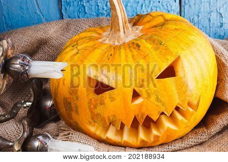 Halloween Pumpkin And Candle Holder With Candles