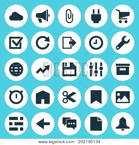 User Icons Set. Collection Of Mark, Folder, Exit And Other Elements