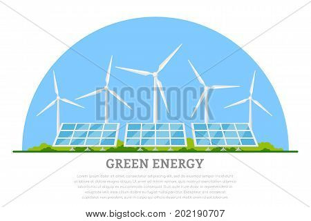picture of wind turbines and solar panels, flat style concept banner of renewable wind and solar energy