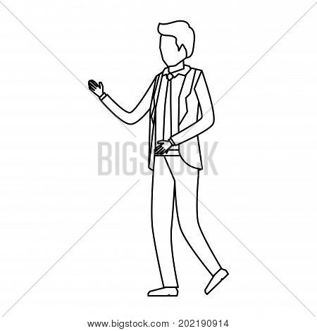 businessman faceless in suit sketch silhouette in white background vector illustration