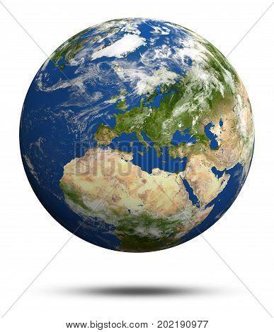 Planet Earth 3d rendering globe model, maps courtesy of NASA