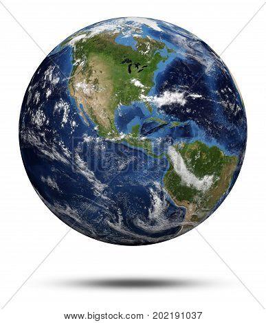 America cyclone. Earth globe 3d render, maps courtesy of NASA