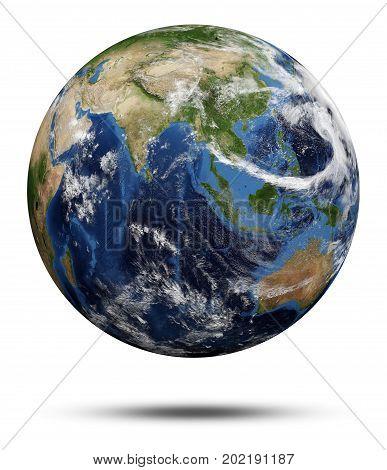 Planet Earth. Earth globe 3d render, maps courtesy of NASA