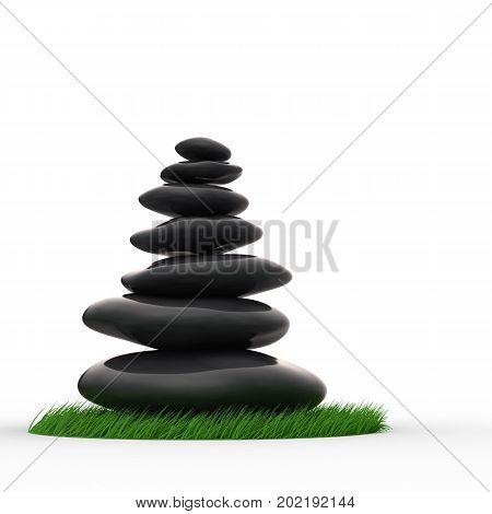 Zen pebbles in balanced stack. 3d rendering