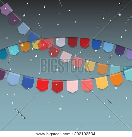 Background of colored flags with star stick and confetti stock vector