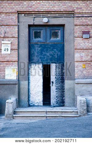 Kiev/Ukraine - July 28 2006 - Entrance door of a soviet style building in Kiev Ukraine