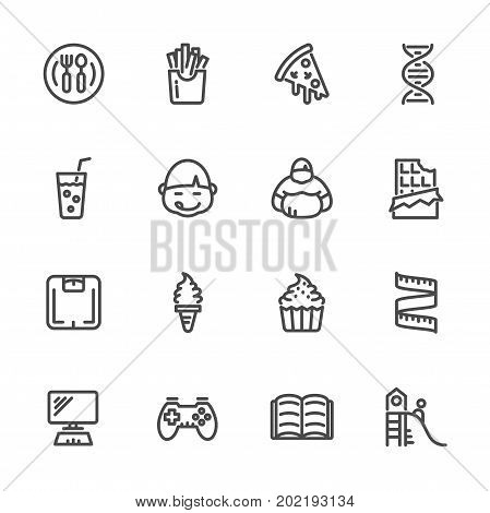Causes Of Childhood Obesity, Vector Line Icons Set