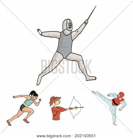 Archery, karate, running, fencing. Olympic sport set collection icons in cartoon style vector symbol stock illustration .
