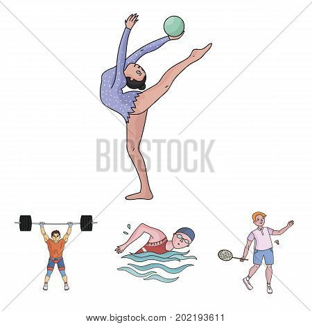 Swimming, badminton, weightlifting, artistic gymnastics. Olympic sport set collection icons in cartoon style vector symbol stock illustration .