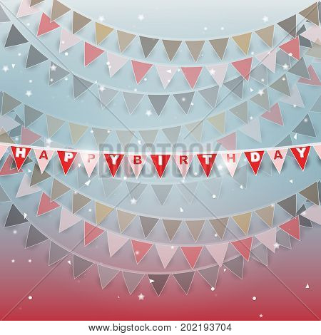 Happy birthday flags on beautiful background stock vector