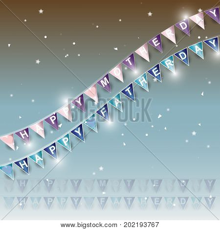 Background of mom and dad day flags stock vector
