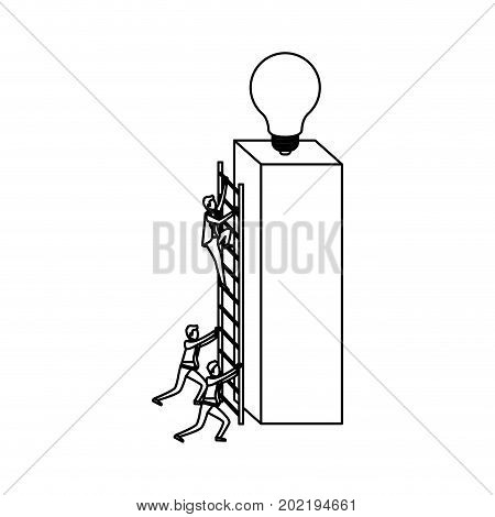 businessmen climbing wooden stairs in a big rectangular block with light bulb in the top sketch silhouette in white background vector illustration