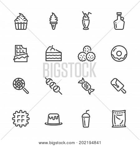 Sweet dessert Sugar cause of obesity. Vector line icons set