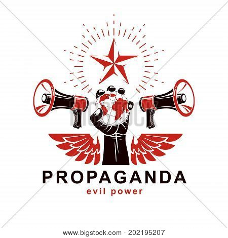 Presentation poster composed with loudspeakers raised arm holds Earth globe vector illustration. Propaganda as the means of global manipulation and control.
