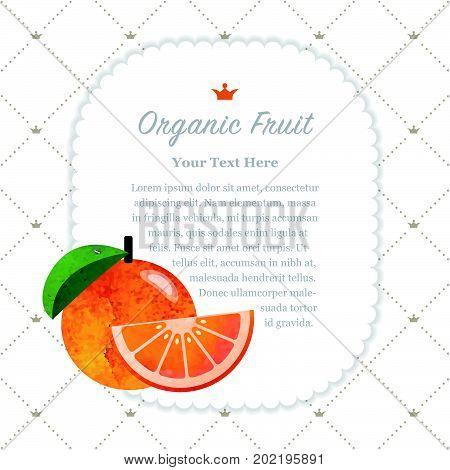 Colorful Watercolor Texture Nature Organic Fruit Memo Frame Grapefruit