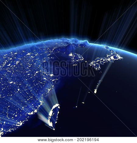 East Asia city lights. Earth map from NASA 3d rendering