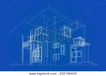 Cottage construction image photo free trial bigstock cottage construction blueprint building design and 3d rendering model my own malvernweather Images